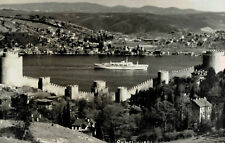 RPPC,Istanbul,Turkey,Bosphore Strait from Rumelihisari Castle,Cruise Ship,c.1950