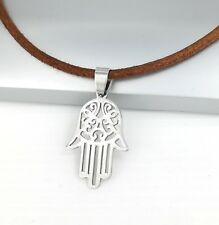 Silver Khamsa Hamsa Hand Stainless Steel Pendant Brown Leather Necklace