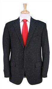 Polo Ralph Lauren by Corneliani Charcoal Striped Wool-Cashmere Flannel Suit 42R