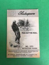 Bt427 Shakespeare Push Button Reel Instruction Folder No.1771