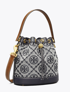Tory Burch T Monogram Jacquard Bucket Bag Navy Blue New Authentic