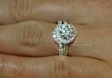 2.75ct Engagement Bridal Ring Set Halo style Round Cut Real 14k White Gold Women