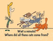METAL MAGNET Woman Eight Cats Wait Minute Where Did Cats Come From Humor MAGNET