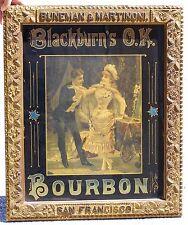 Blackburn's O.K. Bourbon Bar Sign, 1880's, framed. Reverse glass.
