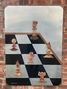 Original Wall Art Aluminum Sculpture By Alex Kovacs. Chess Board. 1974. Signed