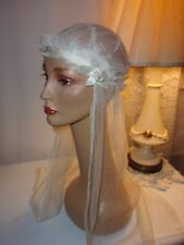 Lovely 1920S Vintage Wedding Veil With Satin Rosettes Silk Tulle Ex Condition