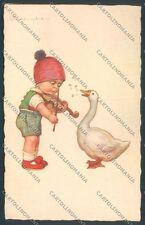 Colombo Children Bambini Violin Goose Postcard cartolina EE4767