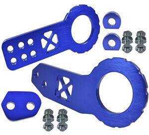 JDM Billet Aluminum Racing Front Rear Tow Hook Kit CNC Anodized Color Blue E215