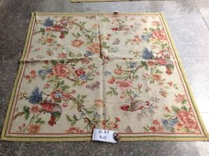 5' X 5' Splendid Gorgeous French Country Floral Bird Butterfly Needlepoint Rug