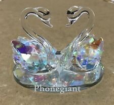 Pair of Swans Multi Color Crystal Lovers Glass Swan Decoration Solid Ornament