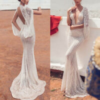 Womens Sexy Lace Deep V Neck Dress Cocktail Party Wedding Prom Dresses Ball Gown