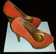 WOMEN HIGH  HEELS SHOES PLATFORM SIZE 7.5 - ORANGE / BROWN