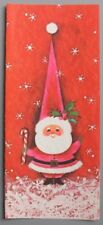 UNUSED Vintage Greeting Card Christmas Cute Santa Claus Pointy Hat Mid-Century