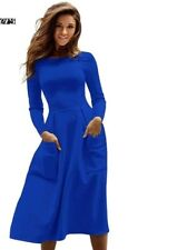 Women Casual Long Dresses Skater Dress Female Long Sleeve Sexy  Midi Dress TP