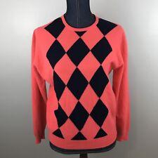 Womens Argyle Angora Wool Blend Peter Scott Pullover Sweater Sz 38 AI