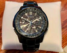 Oceanus Black Titanium Watch 4749 Solar Radio Sync Men's Watch