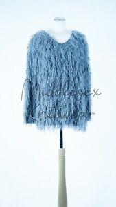 Fluffy Shaggy Woolly Fringe Cardigan Handcrafted Faux Fur Women Ladies Wool Mix