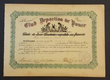 ANTIQUE SHARE / STOCK BOND / CLUB DEPORTIVO DE PONCE / PUERTO RICO 1918 #2