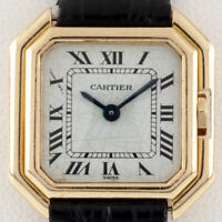 Cartier 18k Yellow Gold Quartz Ceinture Watch w/ Leather Band