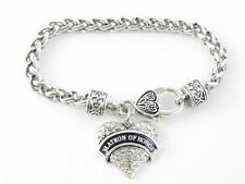 Matron of Honor Clear Crystal Heart Silver Bracelet Wedding Jewelry Gift