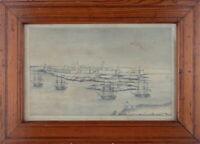 Belagerung von Tanger (Marokko) 1844 durch die Franzosen  Bleistiftzeichnung