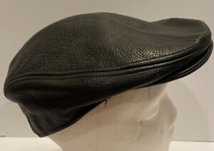 Vintage Black Stetson Genuine Leather Newsboy Hat Cap Sz S/M USA Cabbie Driving