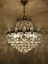 Vintage 6 light Brass and Crystal Old Basket Chandelier (18 inch. diameter)