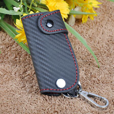 3D Top Sale Leather Carbon Fiber Remote Key Case chain keyless Fob cover Holder