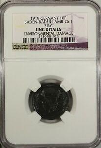 Germany 10 Pfennig 1919 NGC UNC Details Baden - Baden  Lamb-26.1 Zinc