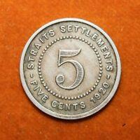 KM# 34 - 5 Cents - George V - Straits Settlements 1920 (VF)