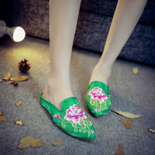 Retro Women's Cloth Shoes Chinese Embroidered Satin Slippers Mules Home Shoes Sz