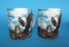 Alaska ~ Bald Eagles ~ Blue Sky ~ Mountain Range ~ Set of 2 Coffee Tea Mugs Vguc