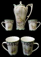 Beautiful 6 Pc. Antique Limoges Chocolate Pot & 4 Cups  - Reproduction -