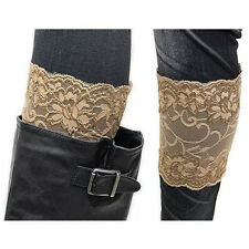 HOT! SASSY TAUPE BROWN Stretchy Lace Boot Toppers Cuffs Leg Warmers- USA SELLER!