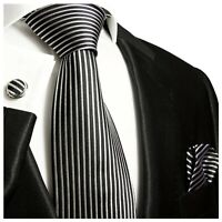 Paul Malone Krawatte weiß schwarz Seide + Einstecktuch + Manschettenknöpfe 408