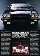 1988 Jaguar XJ-s XJS - black front -  Classic Vintage Advertisement Car Ad J08