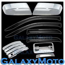 14-15 Sierra 1500 Chrome Mirror+4 Door Handle+Tailgate Keyhol+Smoke Window Visor
