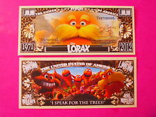 The LORAX Dr. Seuss Animated Film Book ~ Fun $1,000,000 One Million Dollars; USA