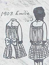 """VINTAGE ORIG FRANKI'S ANTIQUE BEBE DOLL DRESS PATTERN EMILIE 11""""-27"""""""