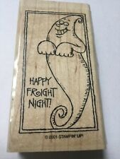 Ghost Halloween Happy Fright Night Stampin' Up Wood Rubber Stamp 2001