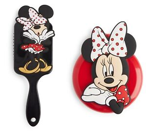 Disney Paddle Brush & Folding Mirror Combs Minnie Mouse Hair Brushes Gift NEW