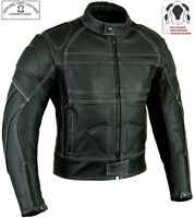 MENS BLACK CE ARMOUR MOTORBIKE / MOTORCYCLE PREMIUM QUALITY LEATHER JACKET