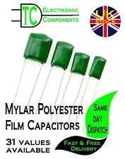 Mylar Polyester Film Capacitors  31 values available (packs of 10)  *UK SELLER*