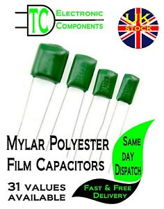 Mylar Polyester Film Capacitors  38 values available (packs of 10)  *UK SELLER*