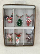 Pier 1 Christmas Holiday Drink Glass Charms Markers Set Of 6 NIB