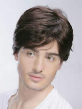 100% Real Hair! New Sexy Men's Wig Short Dark Brown Tousled Full Wigs Human Hair