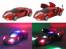"Sports Race Car Doors Auto Opens w/ Music Colorful Lights Spins - Red 10"" L New"