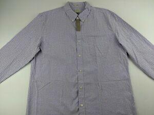 NEW J. Crew Slim Stretch Secret Wash Shirt XL Purple Gingham Check Organic AC045