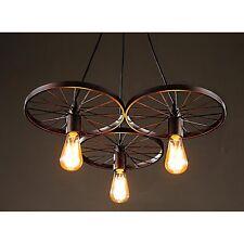Farmhouse 3 Lighting Chandelier Rustic Vintage Wagon Wheel Edison Light Fixture