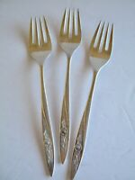 "3 Pcs Oneida Community Morning Rose Salad Forks 6 3/4"" Silverplate Silverware"